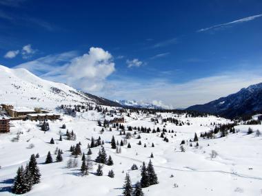 Val di Sole a středisko Tonale v zimě